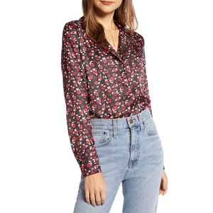 Something Navy Rose Printed Button Down Top